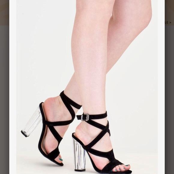 So Transparent Chunky Wraparound Heels
